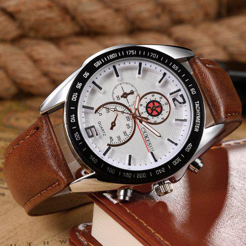 Shop OUKESHI Faux Leather Strap Quartz Tachymeter Watch - WHITE AND BROWN  Mobile