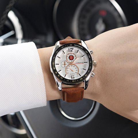 Sale OUKESHI Faux Leather Strap Quartz Tachymeter Watch - WHITE AND BROWN  Mobile