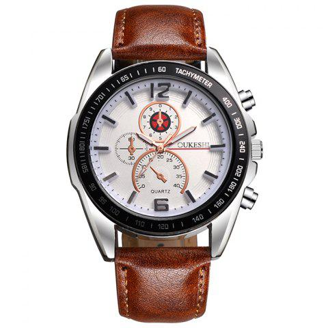 Store OUKESHI Faux Leather Strap Quartz Tachymeter Watch WHITE/BROWN