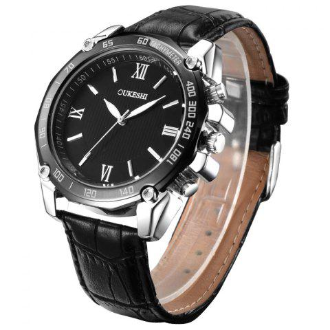 Shop OUKESHI Faux Leather Strap Roman Numeral Watch BLACK