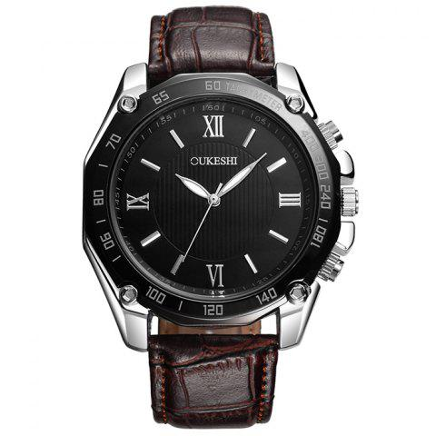 Sale OUKESHI Faux Leather Strap Roman Numeral Watch BROWN