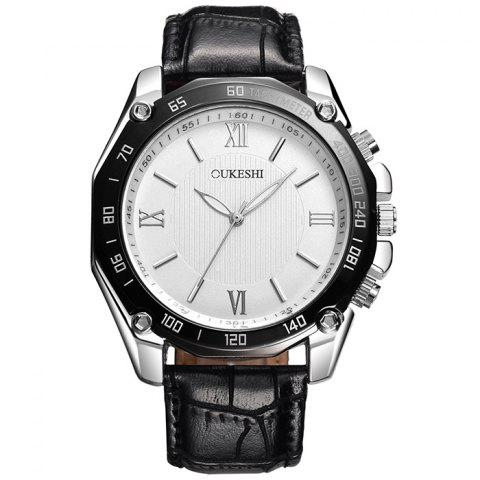 Online OUKESHI Faux Leather Strap Roman Numeral Watch BLACK WHITE