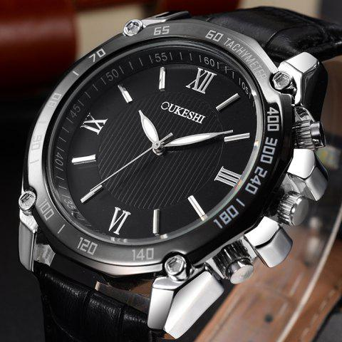 Trendy OUKESHI Faux Leather Strap Roman Numeral Watch - BLACK WHITE  Mobile