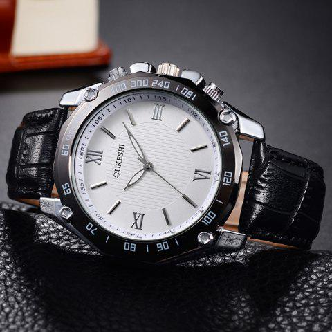 Discount OUKESHI Faux Leather Strap Roman Numeral Watch - BLACK WHITE  Mobile