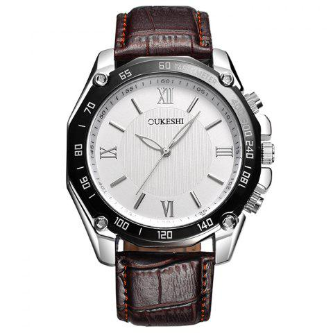 Discount OUKESHI Faux Leather Strap Roman Numeral Watch WHITE/BROWN