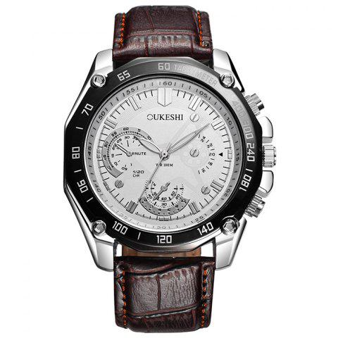 Shops OUKESHI Faux Leather Strap Tachymeter Analog Watch