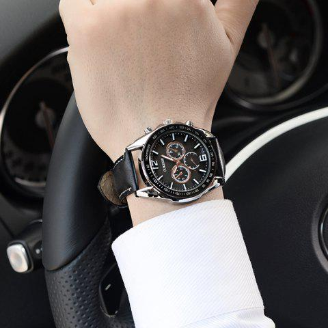 Outfits OUKESHI Faux Leather Strap Tachymeter Quartz Watch - BLACK  Mobile