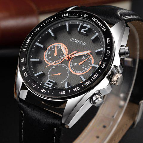 Fashion OUKESHI Faux Leather Strap Tachymeter Quartz Watch - BLACK  Mobile