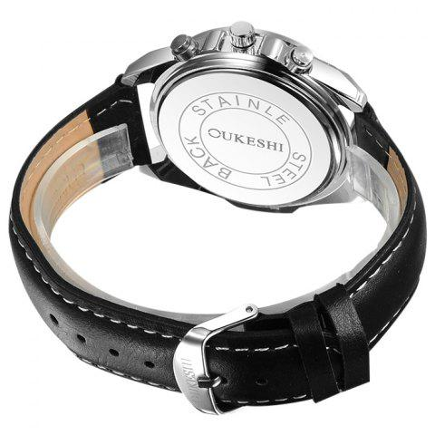 Fancy OUKESHI Faux Leather Strap Tachymeter Quartz Watch - BLACK  Mobile