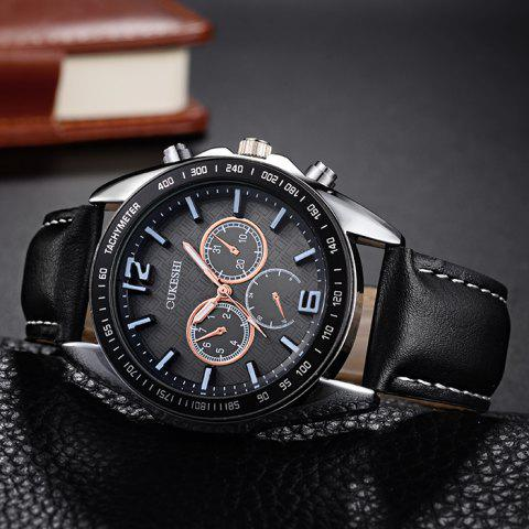 Discount OUKESHI Faux Leather Strap Tachymeter Quartz Watch - BLACK  Mobile