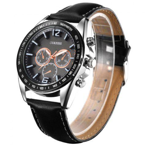 Outfit OUKESHI Faux Leather Strap Tachymeter Quartz Watch BLACK