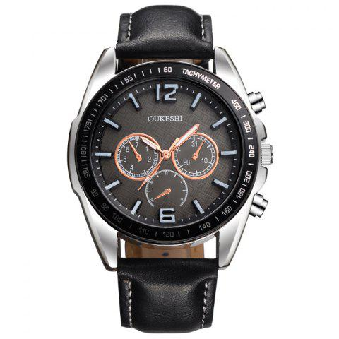Chic OUKESHI Faux Leather Strap Tachymeter Quartz Watch - BLACK  Mobile