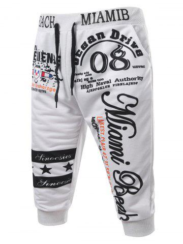 Sale Casual Lace Up Letters Printed Cropped Jogger Pants WHITE 2XL