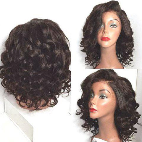Latest Short Wavy Side Parting Lace Front High Temperature Fiber Wig - NATURAL BLACK 04A#  Mobile