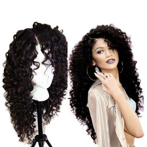 Hot Long Curly Side Parting Lace Front Synthetic Wig - NATURAL BLACK 04A#  Mobile