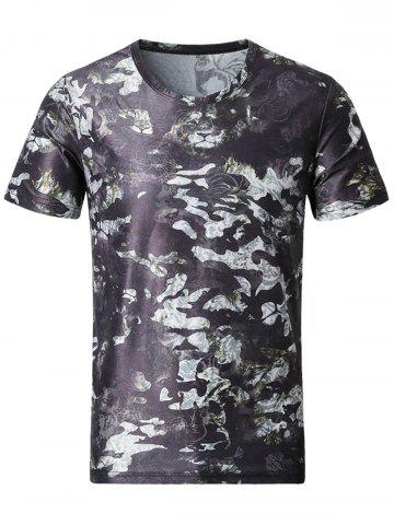 Fashion Smooth 3D Tiger and Floral Print T-Shirt - 5XL COLORMIX Mobile