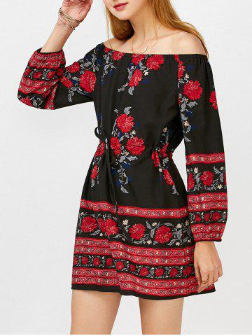 Outfits Floral Long Sleeve Off Shoulder Tunic Dress BLACK S