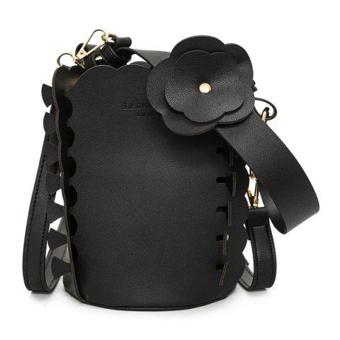 Outfits Scalloped Bucket Bag and Pouch Bag BLACK