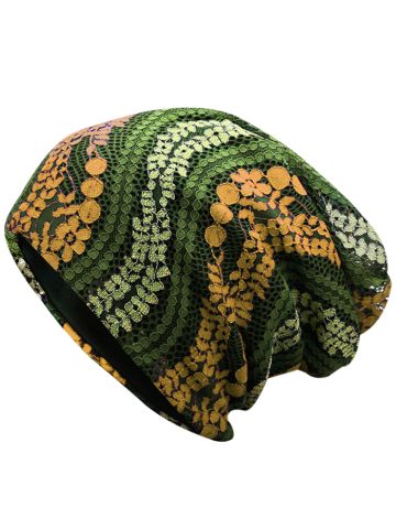 Cheap Lace Floral Layered Beanie