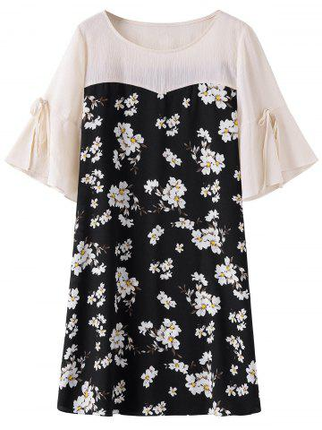 New Knee Length Plus Size Floral Dress LIGHT APRICOT PINK 3XL