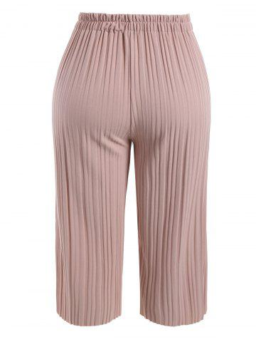 Chic Plus Size Pleated Ankle Pants - 3XL PINK Mobile