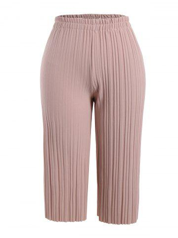 Chic Plus Size Pleated Ankle Pants PINK 4XL
