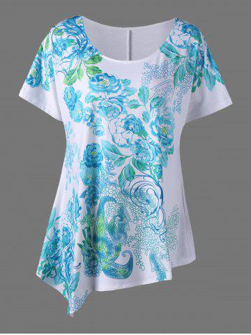 Chic Plus Size Asymmetric Floral Blossom Printed T-Shirt - 2XL WHITE Mobile