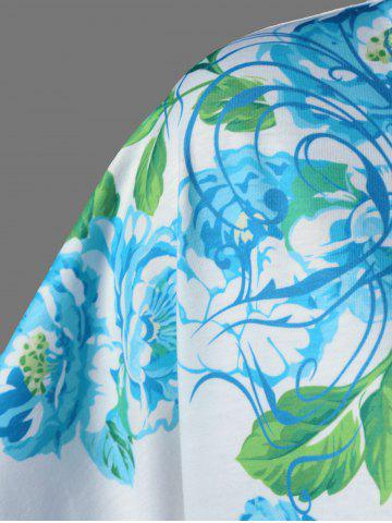 Outfits Plus Size Asymmetric Floral Blossom Printed T-Shirt - 2XL WHITE Mobile