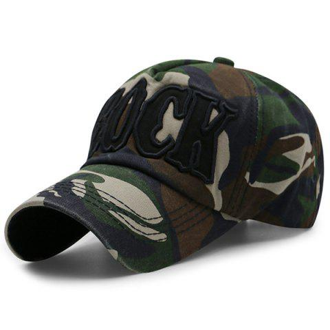 Camouflage Letters Embroidery Baseball Cap - Army Green - M