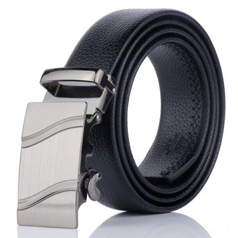 Fancy Automatic Metal Buckle Wave Pinstripe Belt