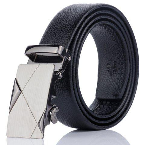 Latest Alloy Automatic Buckle Triangle Line Embellished Belt BLACK