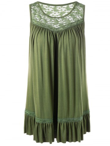 Trendy Lace Insert Plus Size Smock Tank Top OLIVE GREEN XL