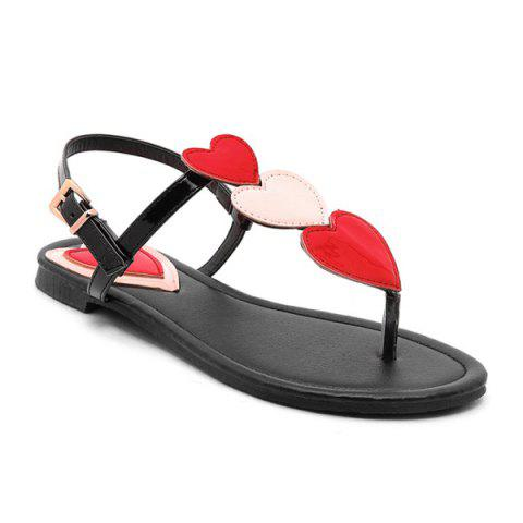 Store Heart Pattern Color Block Sandals