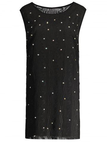 Plus Size Beaded Sleeveless Dress - Black - 3xl