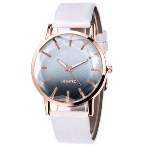 Faux Leather Band Ombre Quartz Watch - White