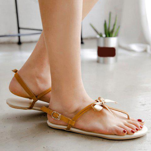 Shops Faux Leather Bow Flat Sandals - 37 BROWN Mobile