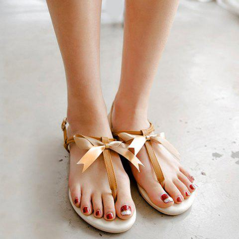 Outfit Faux Leather Bow Flat Sandals - 37 BROWN Mobile