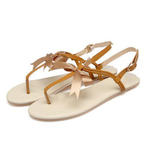 Store Faux Leather Bow Flat Sandals - 37 BROWN Mobile
