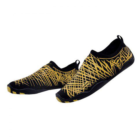 Latest Outdoor Striped Breathable Skin Shoes - 43 GOLDEN Mobile
