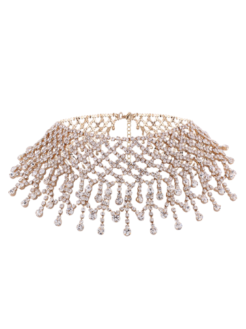 Discount Alloy Fringed Rhinestone Necklace GOLDEN