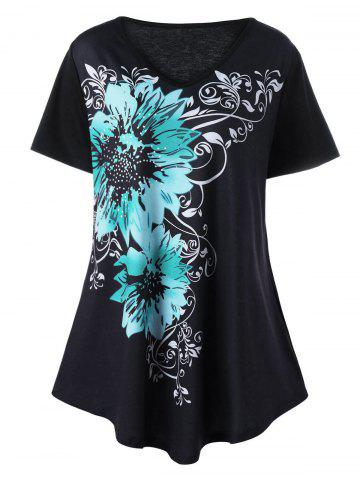 Plus Size V Neck Floral Graphic T-Shirt - Black - 5xl