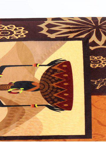 Buy Figure Pattern Flannel Skid Resistant African Bathroom Rug - 16*48 INCH BROWN Mobile