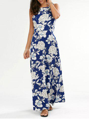 Hot Flower Print Backless Maxi Dress BLUE M