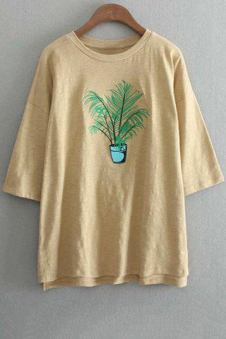 Buy Oversized Plant Embroidered Crew Neck T-Shirt