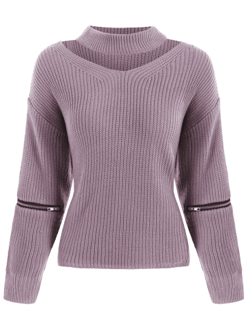 Online Chunky Choker Sweater - ONE SIZE LIGHT PURPLE Mobile