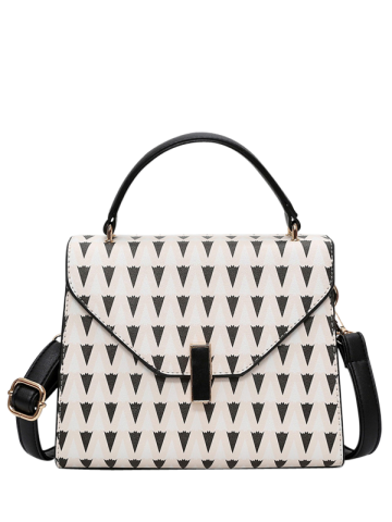 Shops Geometric Print Faux Leather Handbag OFF WHITE