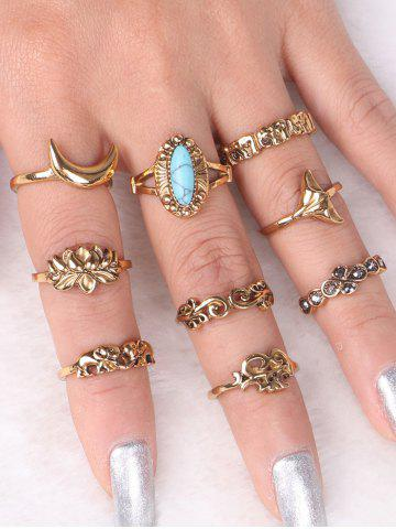 Cheap Faux Turquoise Elephant Moon Alloy Ring Set - GOLDEN  Mobile