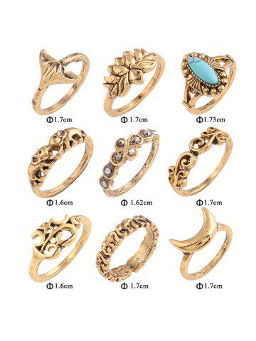 Online Faux Turquoise Elephant Moon Alloy Ring Set - GOLDEN  Mobile