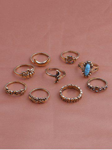 Sale Faux Turquoise Elephant Moon Alloy Ring Set - GOLDEN  Mobile