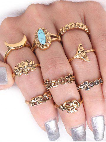 Fashion Faux Turquoise Elephant Moon Alloy Ring Set - GOLDEN  Mobile